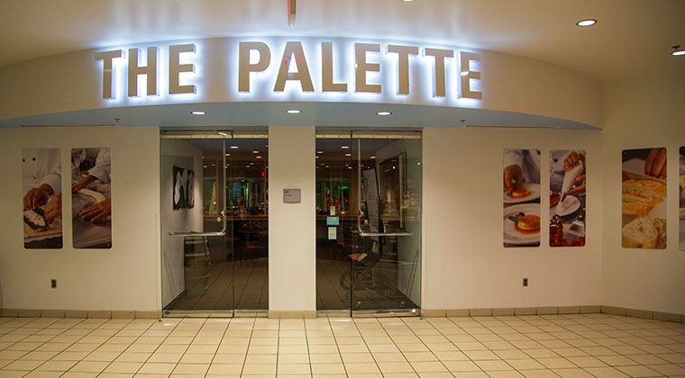 The Palette, our student run restaurant, at night