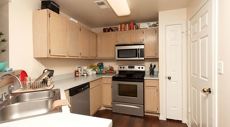 View of the kitchen inside of our student housing.