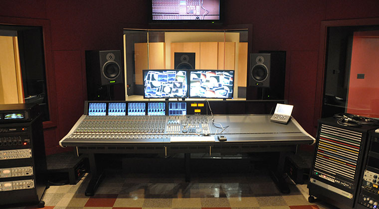 An audio studio at River North point campus.