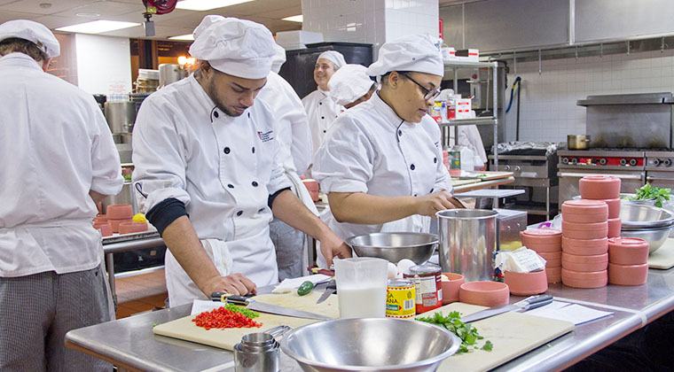 Students learn inside of our professional kitchens.
