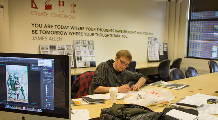 An illustration class creates storyboards at the Loop campus.