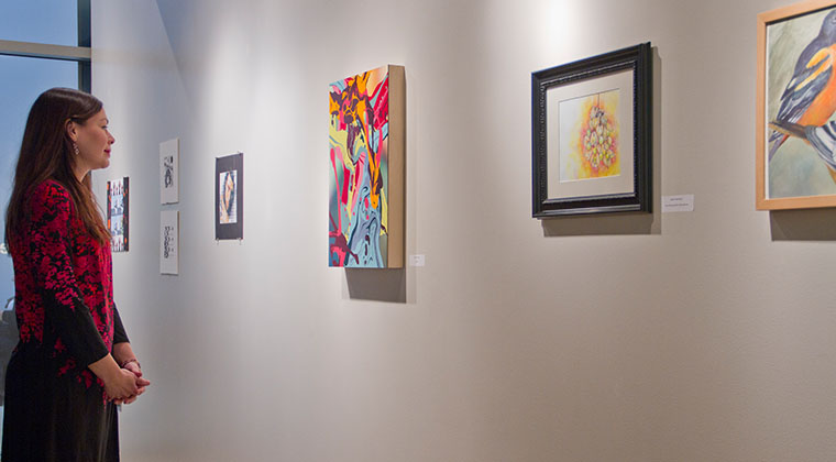 The faculty exhibition on display at Gallery 350 in the River North Point building. This is one of our two galleries.