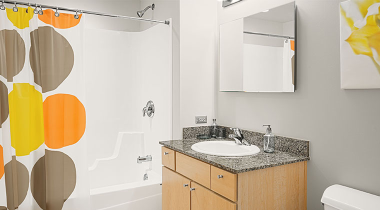 A bathroom at the Automatic Lofts student housing.