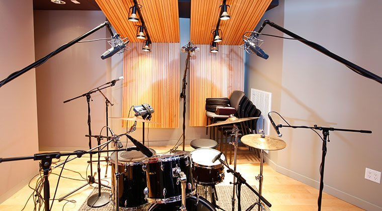 The recording room in the audio production department, where students record bands to gain real-world audio experience.