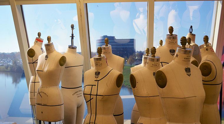 Mannequins in a sewing lab, part of our fashion design curriculum.