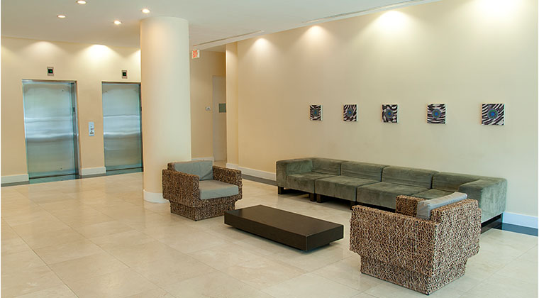 The lobby and main entrance to the student housing apartment building.