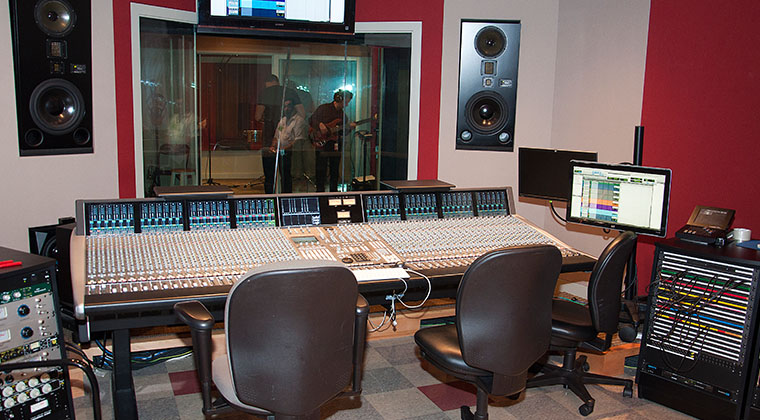 The mixing board in Studio A, an SSL Duality, is one of four such boards in all of South Florida.