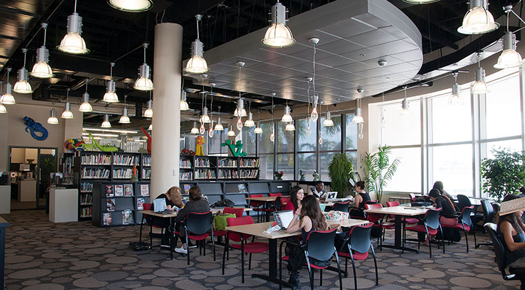 The school's library encompasses the Learning Center, two large study areas, two banks of student work stations, and houses over 30,000 books, DVDs ,and magazines.