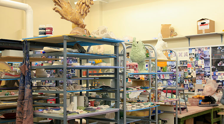 The Ceramics Studio of the Visual Arts program. Many students from other majors enjoy taking ceramics as an elective.