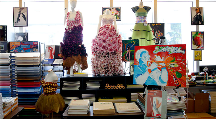 The school's bookstore offers students supplies and inspiration, and is decorated with student work.