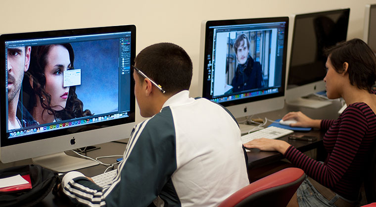 Students working on Image Manipulation in the Graphic Design computer lab.