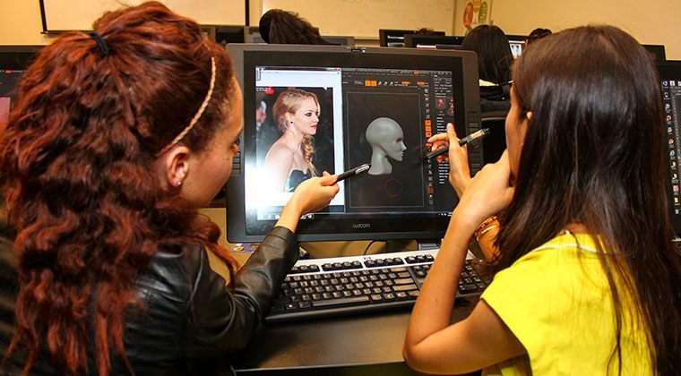 The students in the Game Art & Design program use zBrush in a directed lecture environment.